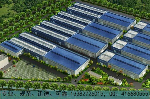 专业设计各种类型钢结构厂房效果图,单层多层框架结构