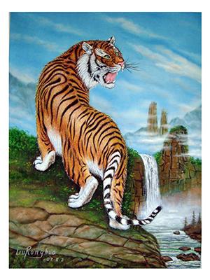 壁纸 动物 国画 虎 老虎 桌面 300_400 竖版 竖屏 手机