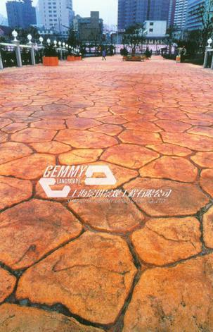 梧州压花地坪施工模具/艺术压模地坪/彩色混凝土压印地坪