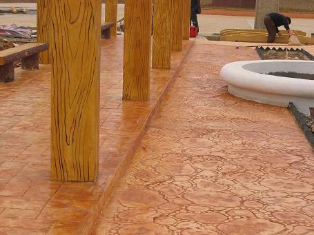 五指山彩色路面艺术地坪/压花混凝土材料/水泥压模地坪施工模具价格