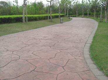 保定混凝土压花路面/艺术压模地坪材料/艺术彩色地坪压印地面施工