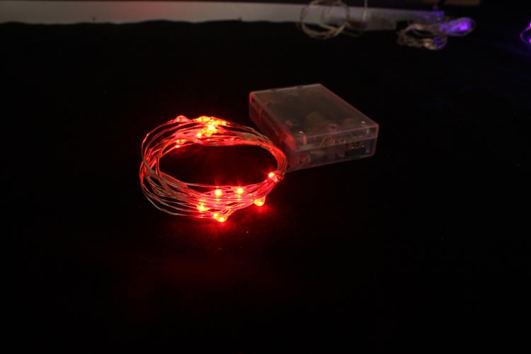 LED电池盒灯串,1米20灯发红光/七彩闪烁/黄光灯串,节日装饰灯