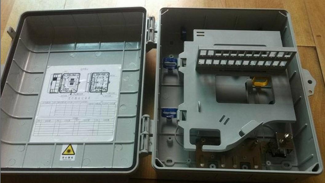 ABS材质24芯光缆分光分纤箱 壁挂抱杆使用