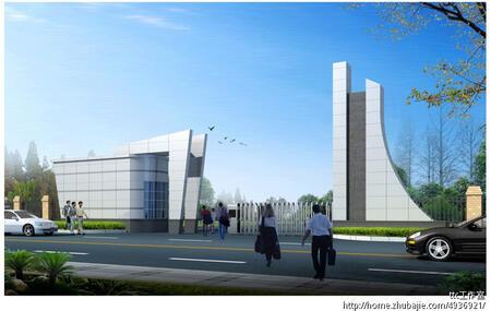 办公楼大门绿化效果图