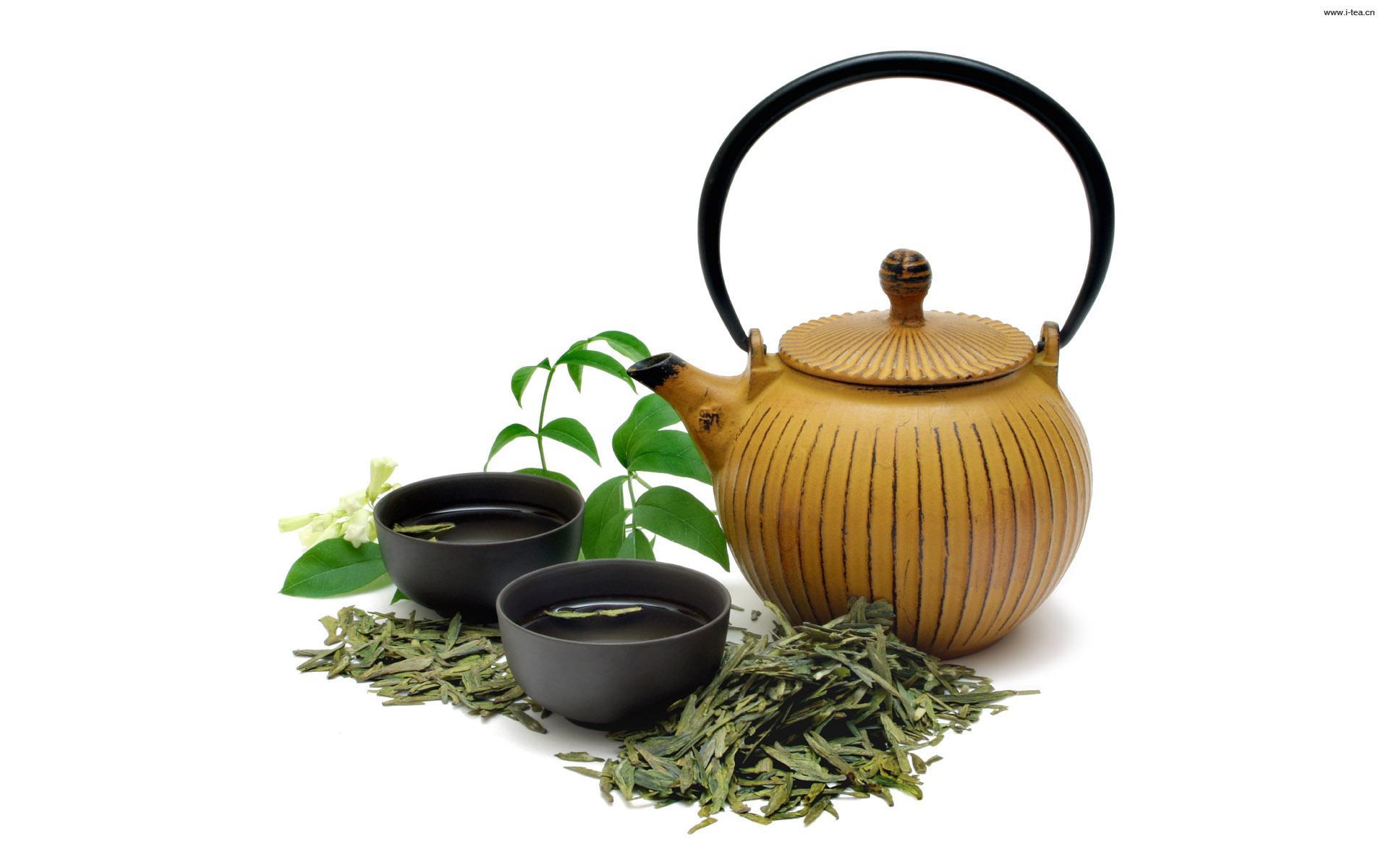 品茶与风景意境图