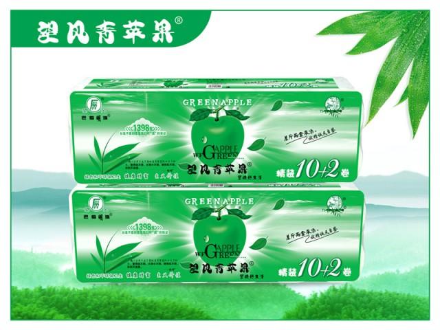 四川竹浆生活用纸望风青苹果精装10+2卷