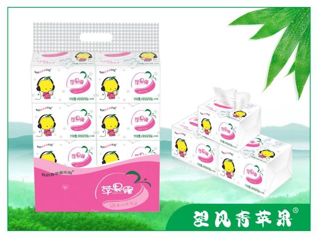 四川竹浆纸苹果缘350张雕花面巾纸