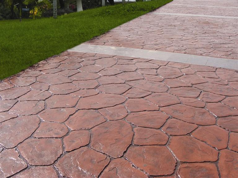 湖州人行道彩色压模混凝土路面|南浔压花地坪施工模具材料价格
