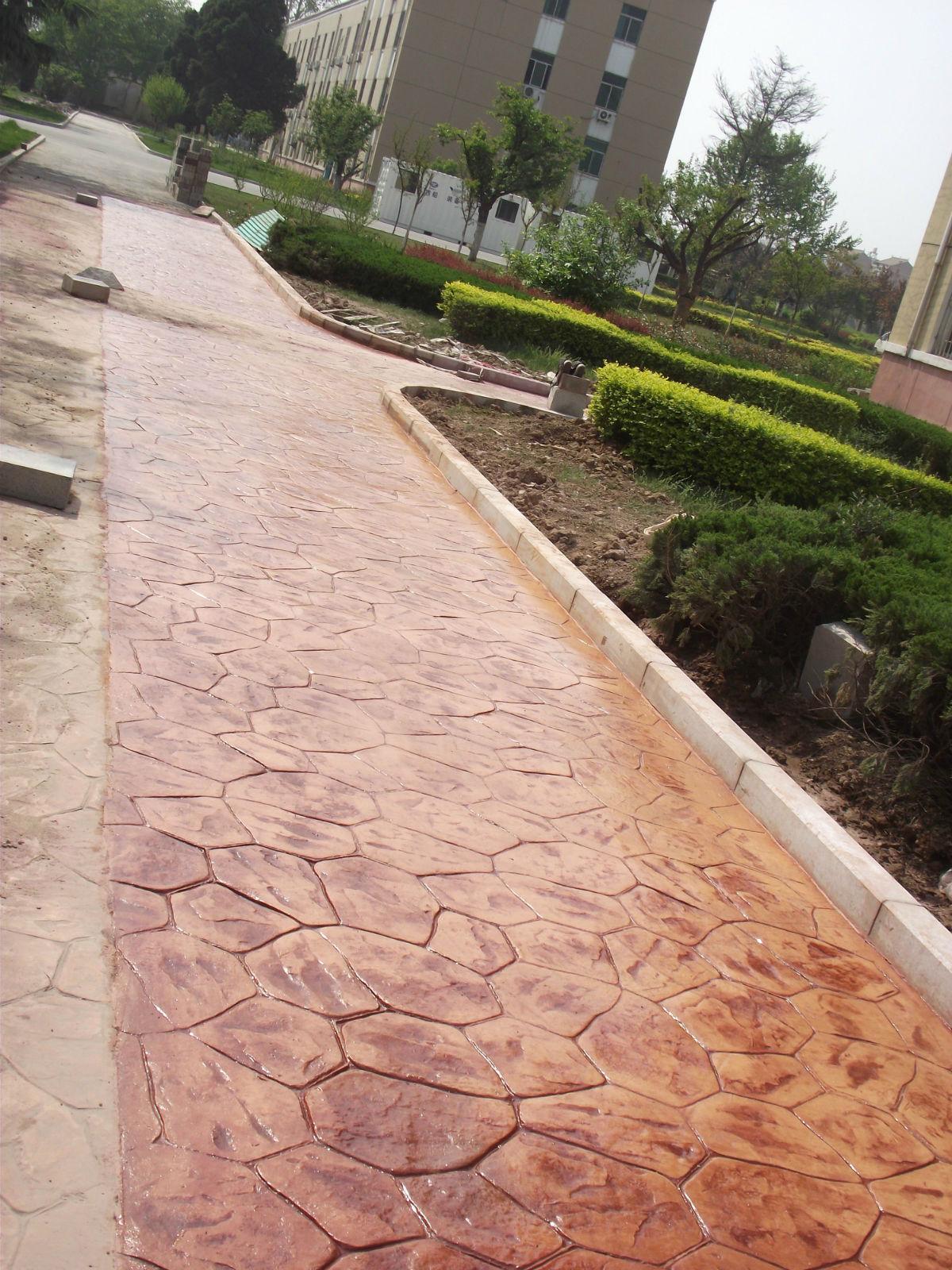 淮安青石板压印地坪|涟水压模混凝土材料|洪泽水泥仿木压花地坪