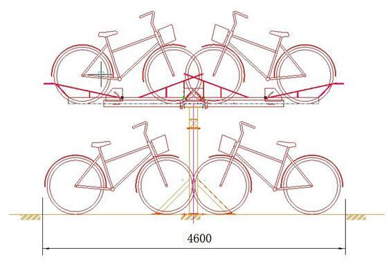 双倍停放自行车的立体停车架
