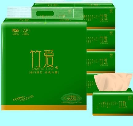 竹浆竹纤维本色纸厂家招经销商代理卫生纸竹爱墨绿典雅