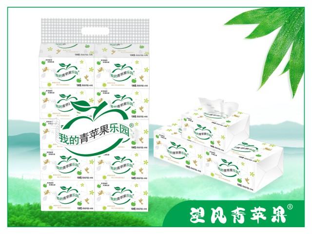 四川竹浆生活用纸我的青苹果乐园408张雕花面巾纸