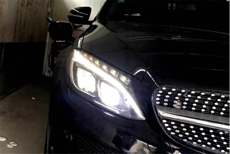 成都奔驰新c级c200l改装解锁一抹蓝LED大灯高配总成随动转向