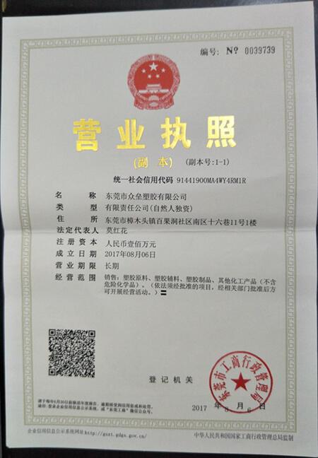 东莞市众垒塑胶有限公司.