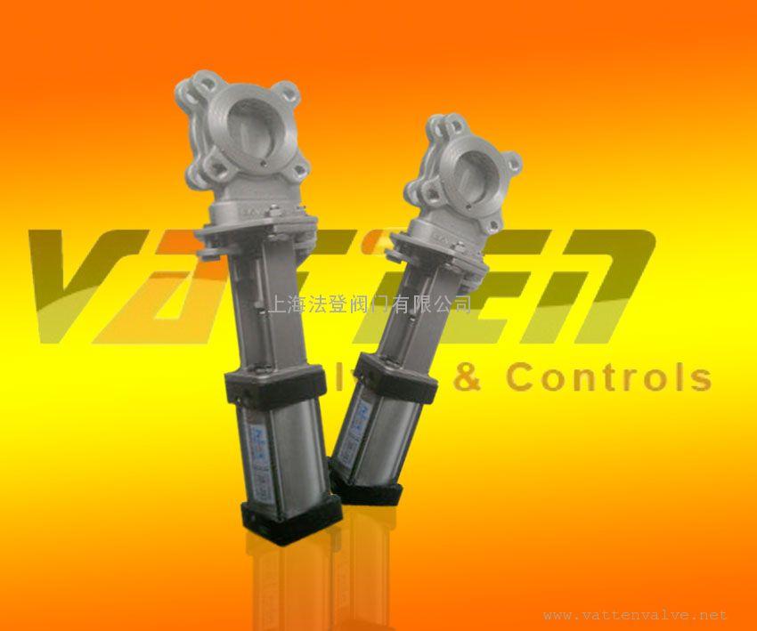 合资品牌VATTE气动对夹耐磨灰渣阀/气动碳钢浆液阀