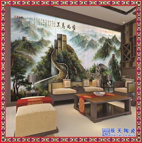 自然风光壁画 手绘春夏秋冬四条屏客厅挂画 酒店大厅壁画定制