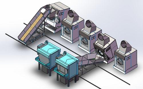 长春洗衣龙酒店宾馆布草洗衣厂集成洗涤系统自动化生产线