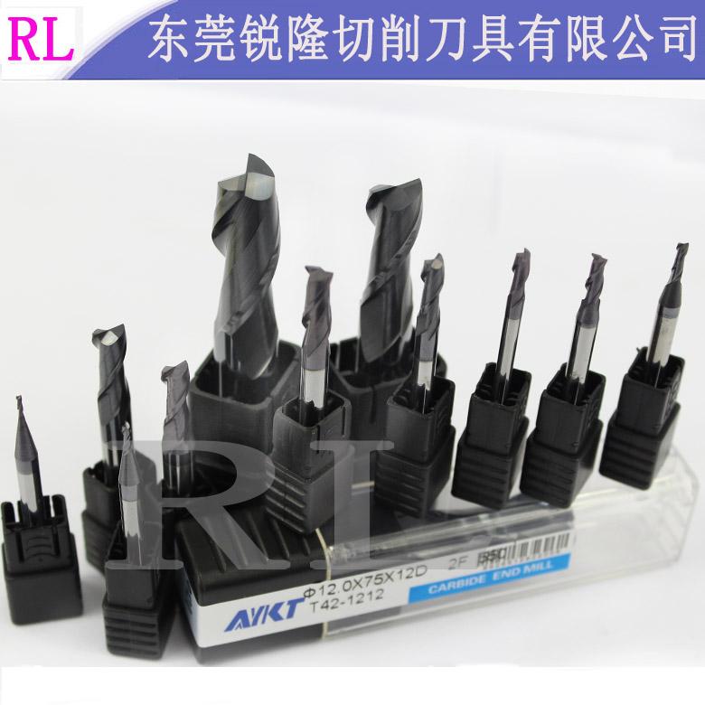 台湾AYKT铣刀超细微粒涂层合金55度钨钢2刃高光钨钢铣刀1.0-20mm