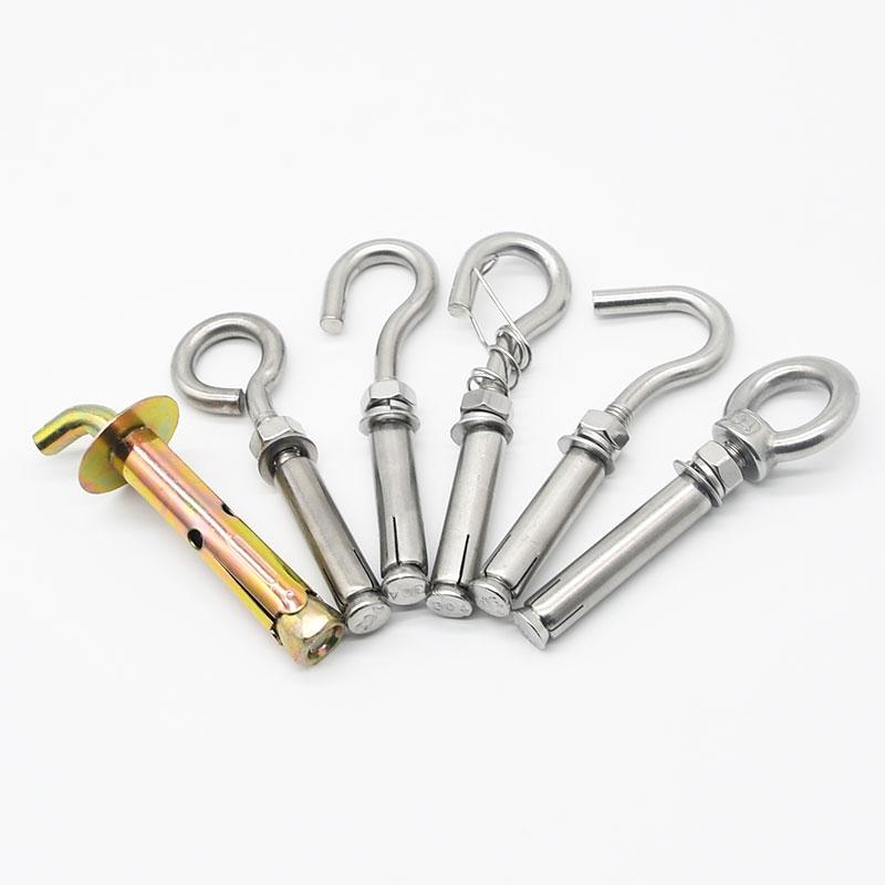 304不锈钢膨胀挂钩螺丝膨胀螺栓吊环吊勾井盖拉爆M6M8M10M12
