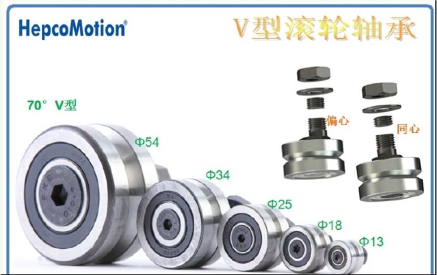 HepcoMotion不锈钢V型滚轮轴承V型滚轮轴承,高速直线模组,