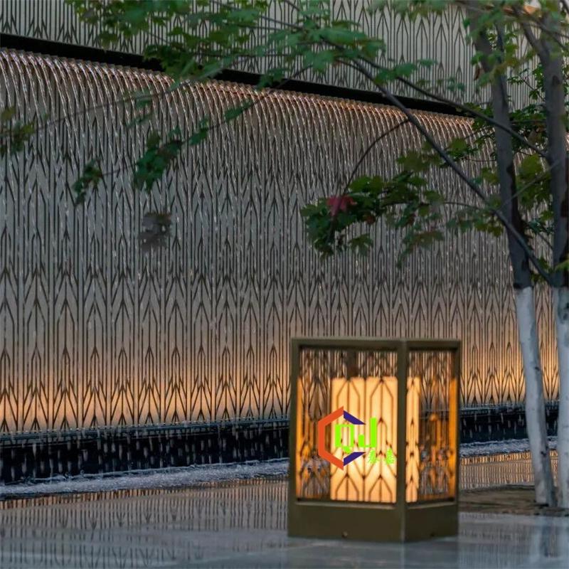 回廊水院立柱灯喷泉水景灯定制住宅小区柱头灯户外LED花园引路灯