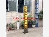 黄古铜长方立柱灯仿云石景观灯户外不锈钢仿水定制灯2米3米尺寸定制灯具