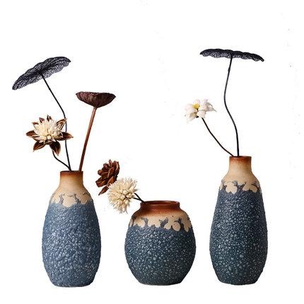 摆件陶艺三件套陶瓷花瓶摆设品陶艺全手工简欧花瓶摆件三件套新