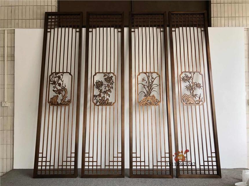 黃古銅鋁板雕花屏風、雙面鋁藝家裝格柵滿足中式裝飾需求