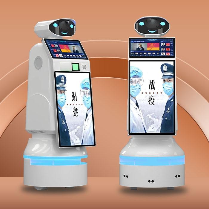 智能測溫迎賓機器人_廣告顯示_選配消毒_讀取身份zhengIC卡_二維碼掃描