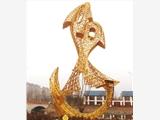 四川室外不銹鋼鏤空金魚雕塑 公園大型抽象金色擺件