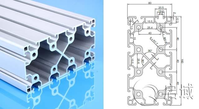 启域供加厚重型铝型材框架铝材支架承重货架型材80160A