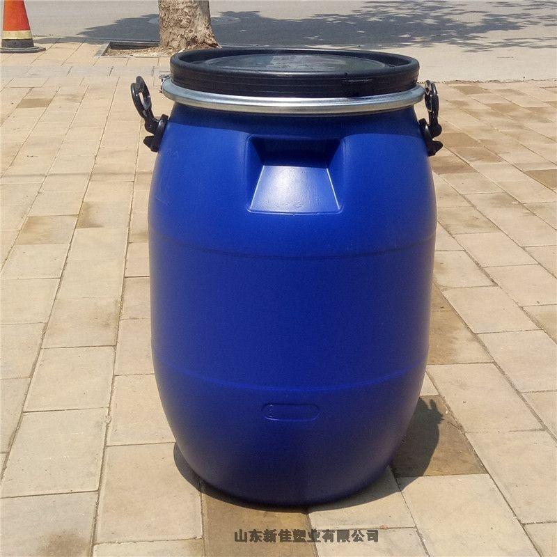 新佳塑业60升塑料桶60kg铁箍桶60L法兰桶60公斤抱箍桶生产厂家