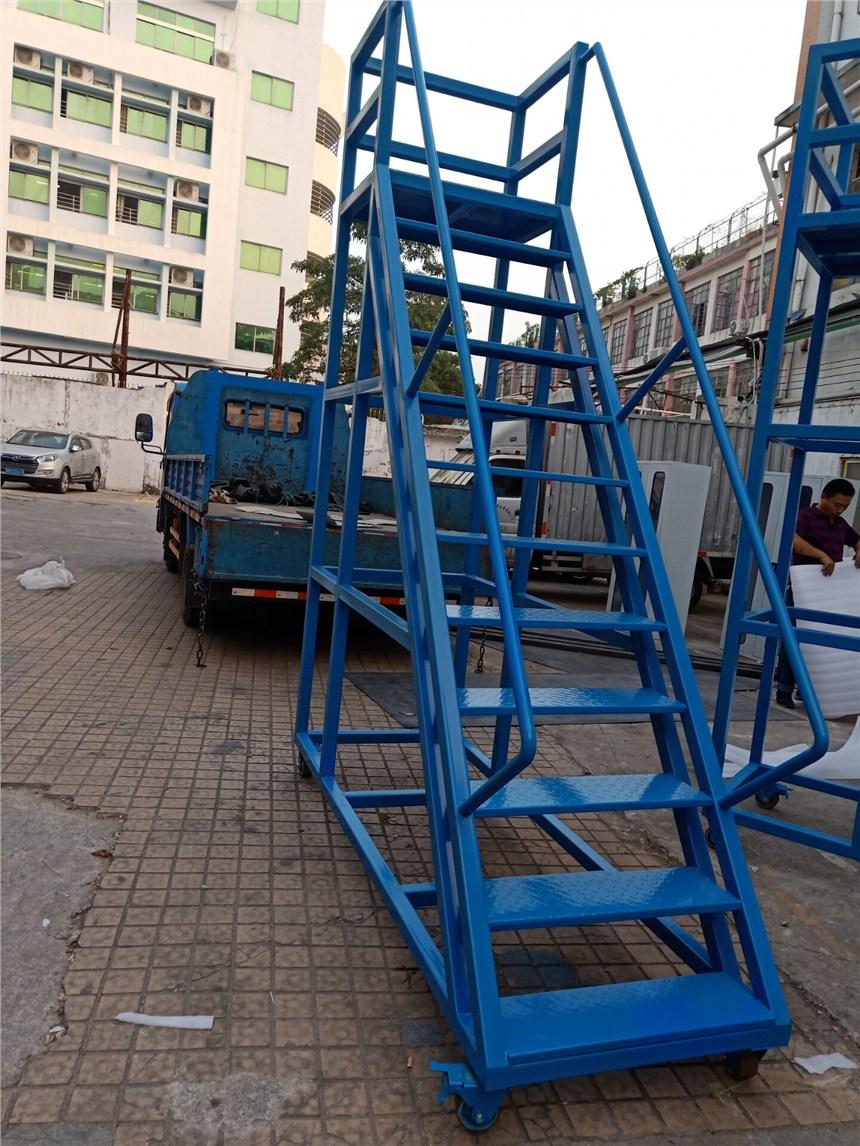 2.5米高貨架梯生產廠家 帶腳輪貨架梯尺寸定做