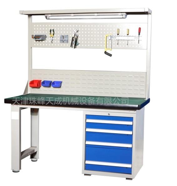 重型車間工作臺抽屜鉗工工作臺天津廠家工位裝備生產組裝工作桌帶掛板