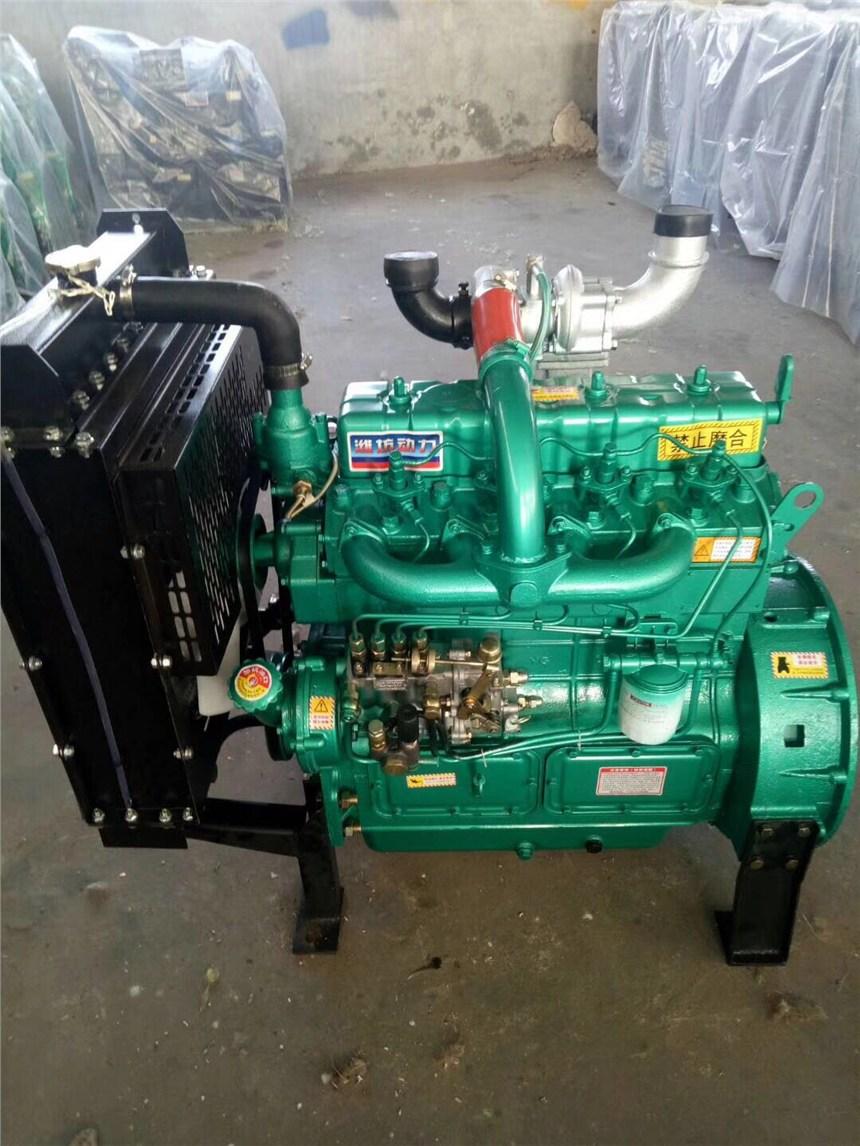 潍柴4102带增压固定动力柴油机 带皮带轮空压机水泥罐车用柴油机图片