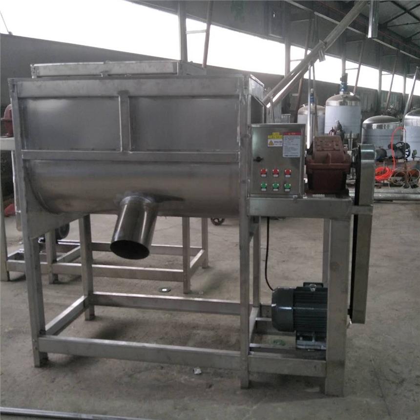 沧县不锈钢小型饲料颗粒卧式搅拌机300公斤槽型混合机定制