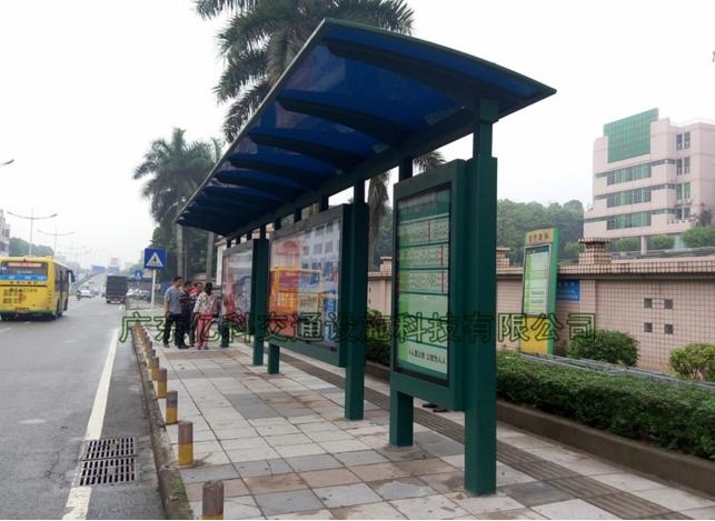 碳钢公交站厅 深圳2大1小墨绿色公交候车亭厂家