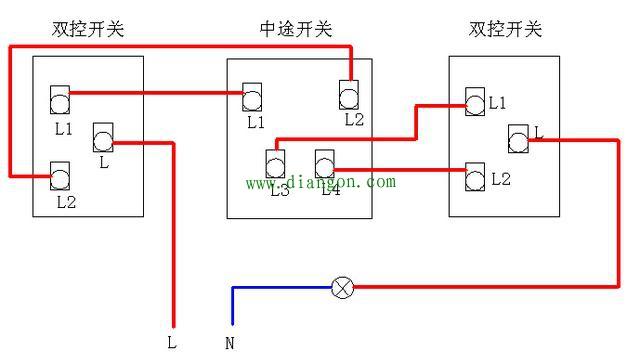 三个开关控一个灯接线原理图解