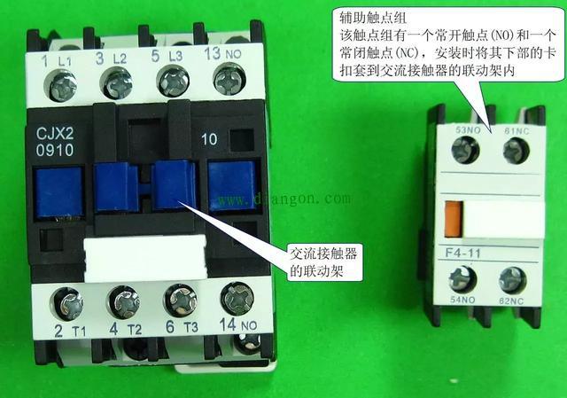 下图是一种常用的交流,它内部有三个主触点和一个常开触点,没有常闭触点,控制线圈的接线端位于接触器的顶部,从标注可知,该接触器的线圈电压为220~230v(电压频率为50hz时)或220~240v(电压频率为60hz时)。