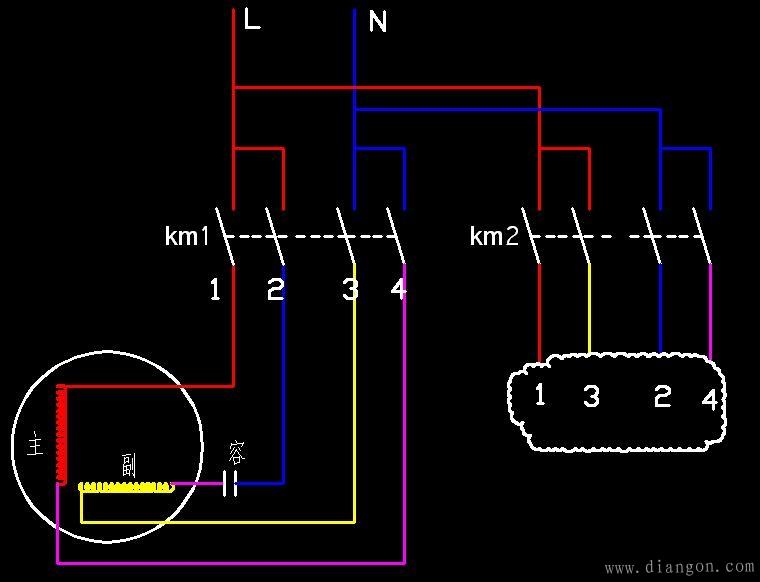 km1和km2的二次线路就用三相电机的普通正反转互锁电路就行了 单相