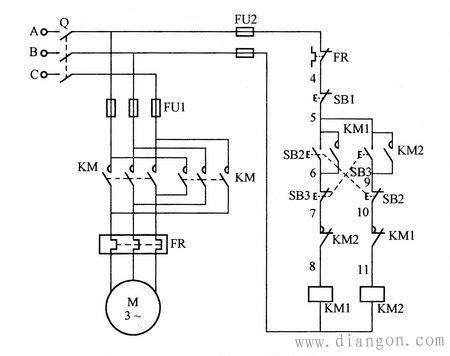 双重互锁正反转控制电路原理接线图