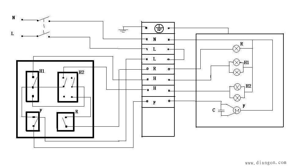 电工知识 电工基础知识 >> 浴霸安装接线方法_浴霸接线图   3个开关