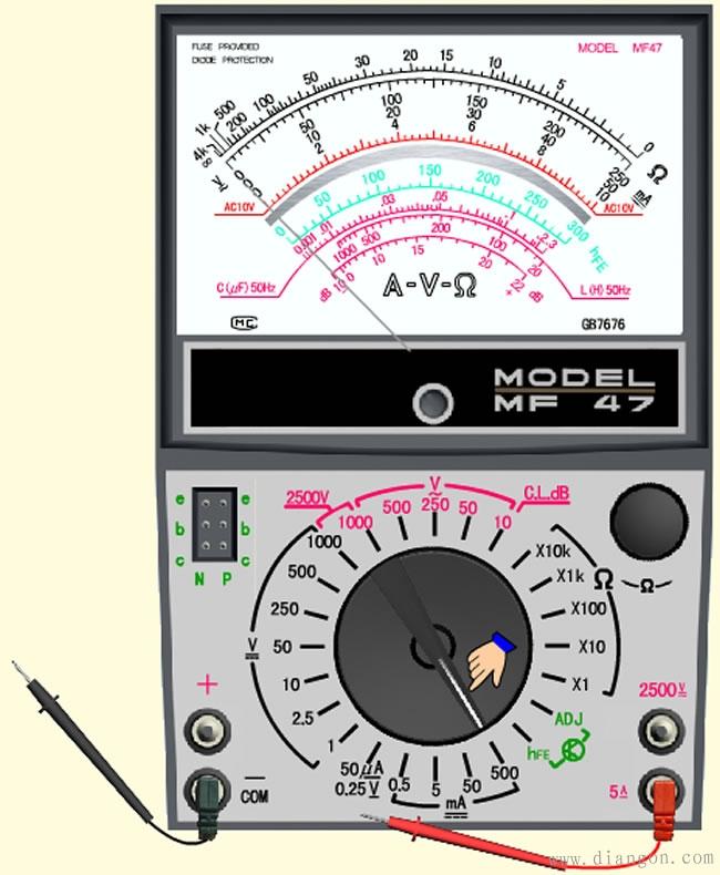 如何用指针式万用表测量直流电流图片