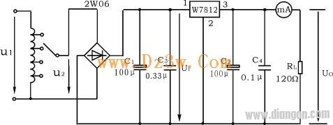 7812稳压电路图   图2 是用三端式稳压器w7812构成的单电压输出串联型