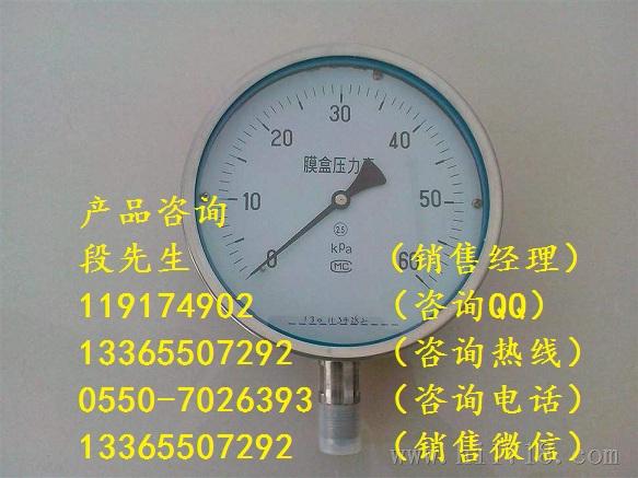 不锈钢外壳压力表Y-153B/0~2.5Mpa