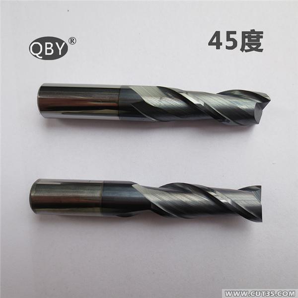 台湾铣刀【启百业】QBY 45度钨钢立铣刀 平刀 合金铣刀